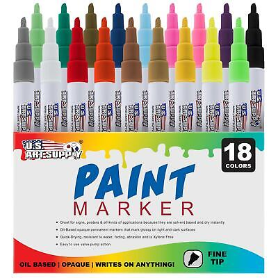 18 Color Set of Oil Based Paint Pen Markers, Fine Point Tips, Permanent Ink