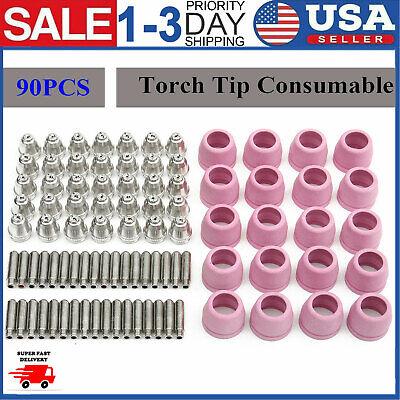 90 pcs Consumables Nozzle Cups Electrode Kit For Lotos Plasma Cutter LTP5000D US