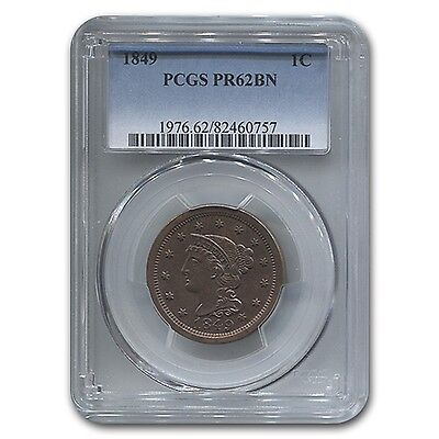 Click now to see the BUY IT NOW Price! 1849 LARGE CENT PR 62 PCGS BROWN   SKU 118269