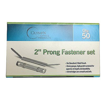 2 Inch Capacity Prong Paper Fastener Set 2.75 Inch Base Box Of 50