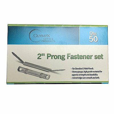 2 Inch Capacity Prong Paper Fastener Set, 2.75 Inch Base, Box of 50
