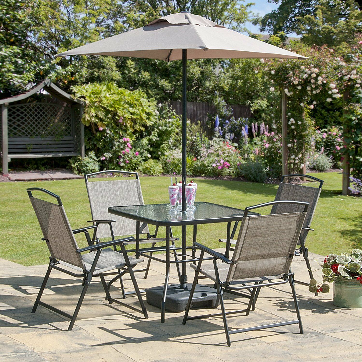 Garden Furniture - Oasis Patio Set Outdoor Garden Furniture 7 Piece Folding Chairs Table Parasol