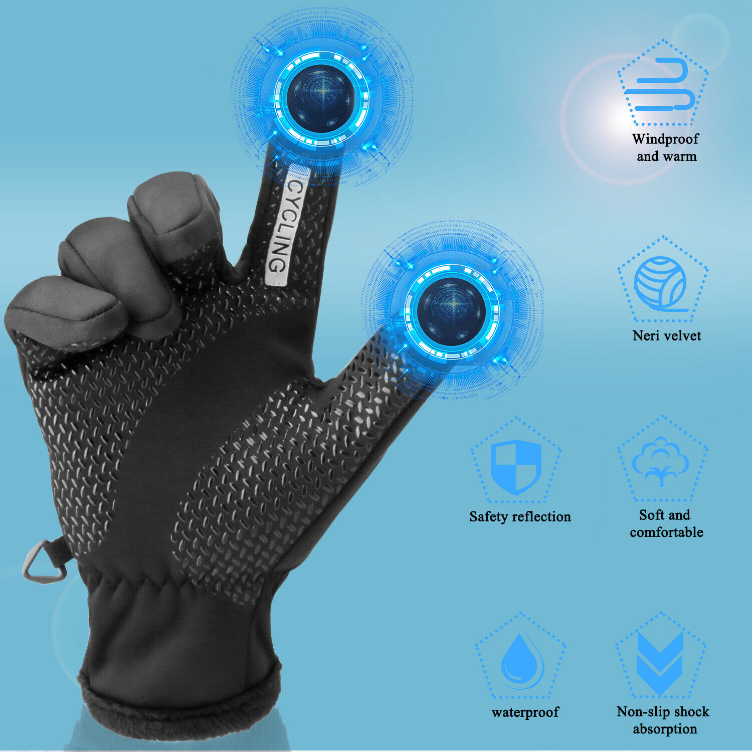 -10℃ Waterproof Winter Ski Gloves Touch Screen Warm Mittens Snow Snowboarding US