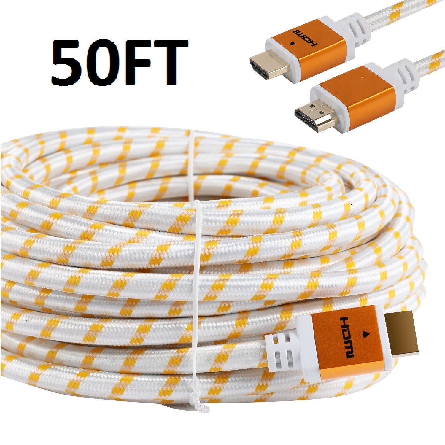 PREMIUM HDMI CABLE 50FT For 3D DVD PS4 HDTV XBOX LCD HD TV 1080P v1.4 White US Consumer Electronics