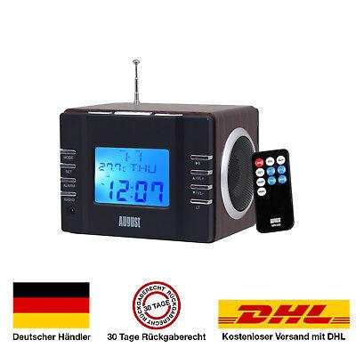 August MB300 UKW Radiowecker - 2x3W Stereolautsprecher, USB/SD Slot Radio wecker (Wecker Großes Display)