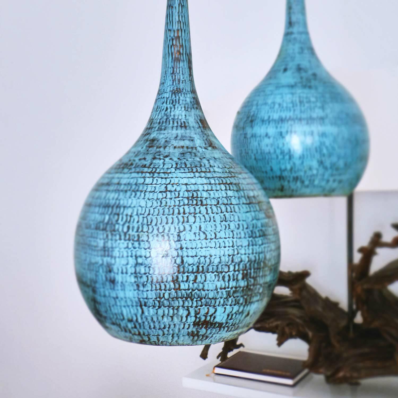 Kupfer Lampenschirm türkis 22x45cm Deckenleuchte Lampe retro modern wohnfreuden