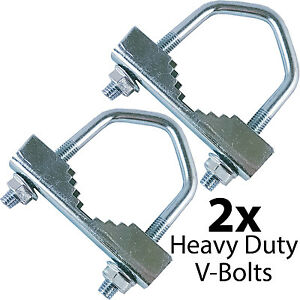 "2x Heavy Duty Jaw V-Bolts -up to 2"" Aerial Pole/Mast- Steel Outdoor U-Bolt Clamp"