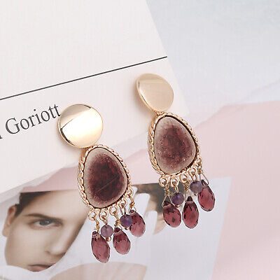 Earrings Golden Art Deco Chandelier Porcelain Tassel Drop Brown XX36