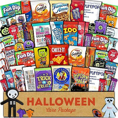 Halloween (60) Candy Snacks Assortment Trick or Treat Cookies Gift Pack Box