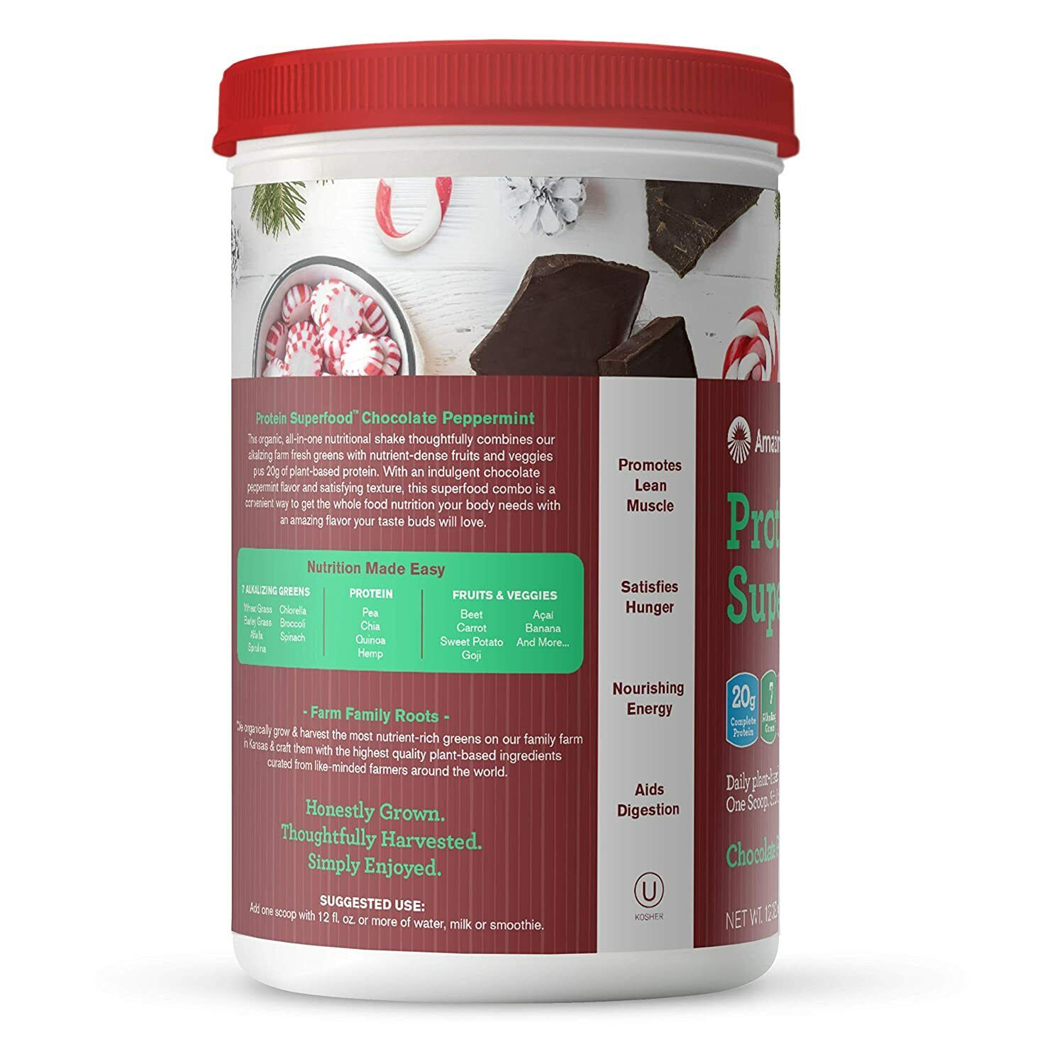 Amazing Grass Superfood organic Vegan Protein Powder Chocolate Peppermint Flavor 1