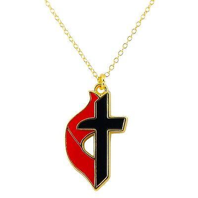 United Methodist Cross Necklace, UMC Cross Pendant Necklace