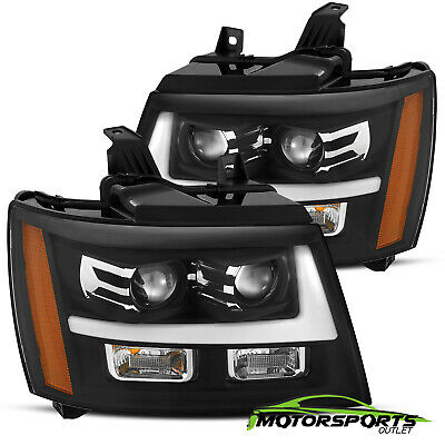 2007-2014 Chevy Suburban/Tahoe/Avalanche Black LED Bar Projector Headlights Pair