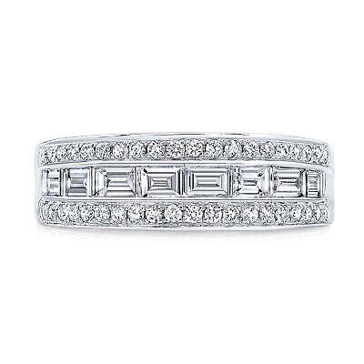 Baguette Diamond Channel Set Ring 14k White Gold Wedding Band 0.82 CT Womens 7 Bridal Channel Set Baguette