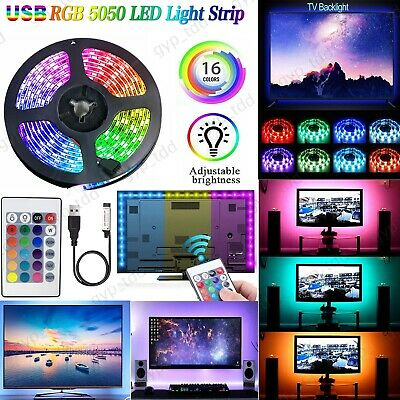 5V USB LED Strip Light 5050 RGB SMD TV Backlight Fairy Lights Room 24 Key Remote