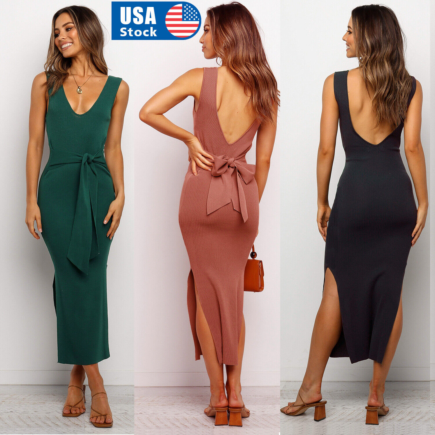 Women Stretch Dress Bodycon Party Sleeveless Slim Fit Maxi Sexy Long Sundress US Clothing, Shoes & Accessories