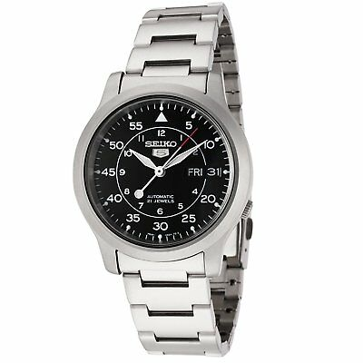 Seiko 5 SNK809 Automatic MILITARY Black Dial Stainless Steel Mens Watch SNK809K1