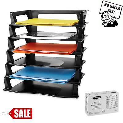 Desk Organizer Letter Tray Desktop Paper Folder Office Plastic 6 Tier Black New (Black Plastic Desktop)