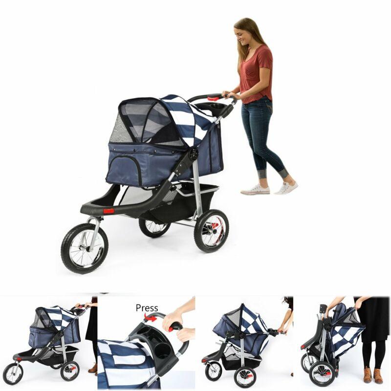 3 Wheels Pet Stroller Cat Dog Cage Jogging Stroller Travel Folding Carrier Safe