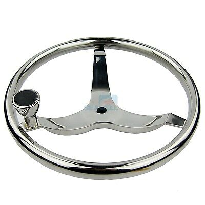 Marine Steering (Marine Boat Steering Wheel W/ Nut & Knob Stainless Steel 3 Spoke 13-1/2