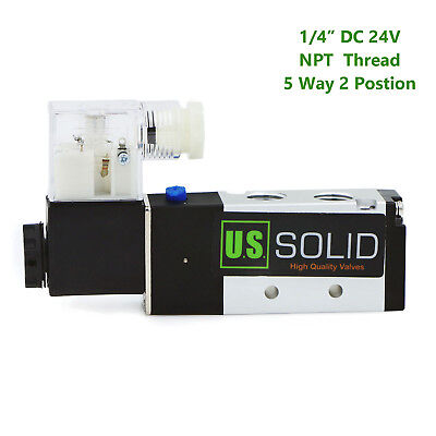 U.s.solid 14 Npt 5 Way 2 Position Pneumatic Electric Solenoid Valve Dc 24 V