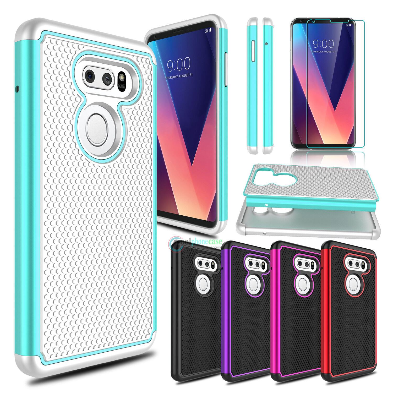 For LG V40/V30 Plus Phone Case Slim Hybrid Shockproof Hard Cover +Tempered Glass