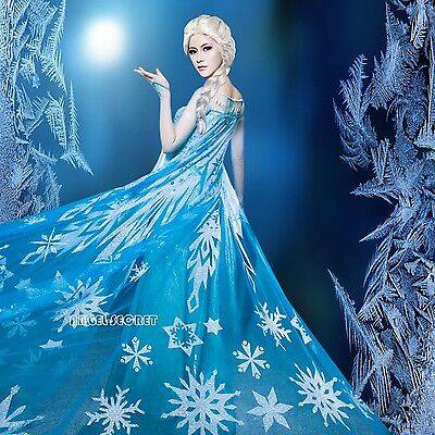 Snow Queen Cape (cloak A for Frozen Snow Queen ELSA Anna Cosplay Costume Dress tailor cloak)