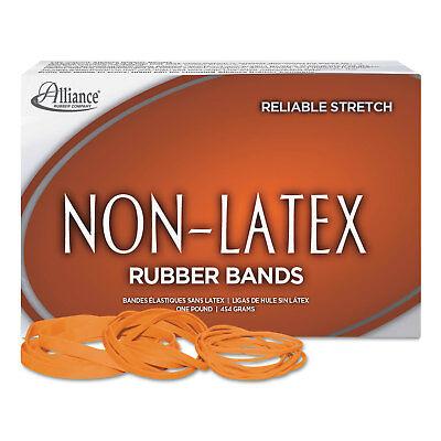 Alliance Non-Latex Rubber Bands Sz. 117B Orange 7 x 1/8 250 Bands/1lb Box 37176
