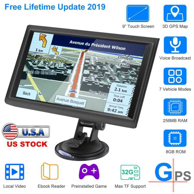 9 Inch Truck GPS Touchscreen Trucking 8GB GPS Navigation for Car Truck Navigate