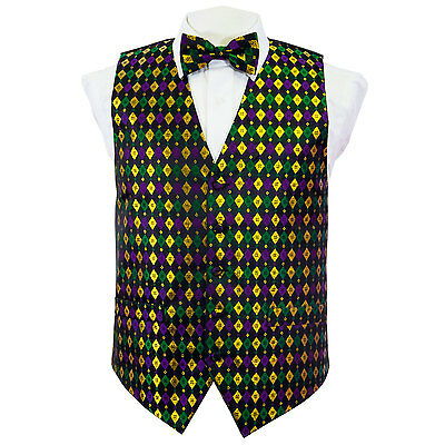 Mardi Gras Vest (Green, Purple, Gold Metallic Harlequin Mardi Gras Vest)