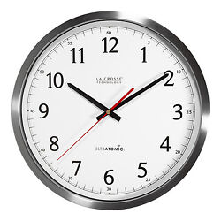 404-1235UA-SS La Crosse Technology 14 UltrAtomic Stainless Analog Wall Clock
