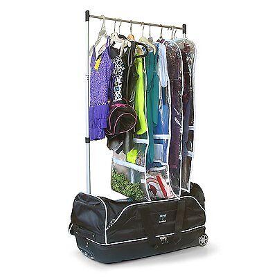 Wheeled Drop-bottom Duffel Bag with Garment Rack Dance Black/Silver Finish ()