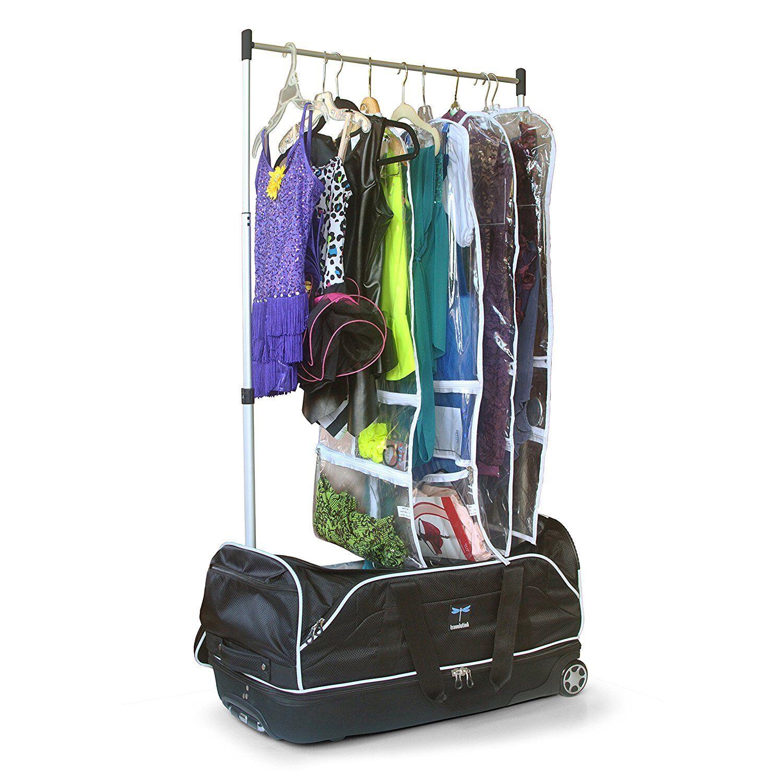 Wheeled Drop-bottom Duffel Bag with Garment Rack Dance Black