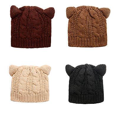 Cute Cat Ear Crochet Knit Cable Rib Hat Cap Beanie for Men Women Boys Girls Teen ()