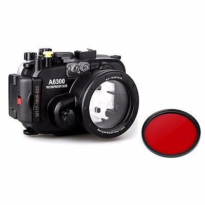 Meikon 40M Unterwasser Kamera Gehäuse Case für Sony A6300 16-50mm w/ Red Filter