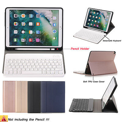 (Detachable Keyboard+Soft TPU Case Cover+Apple Pencil Holder For iPad Pro 10.5)