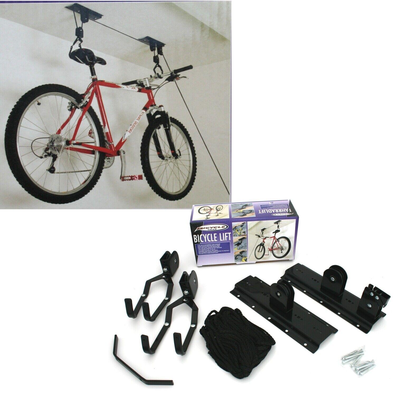 20KG Bike Bicycle Ceiling Hanger Lift Pulley Hoist Storage Stand Garage Rack