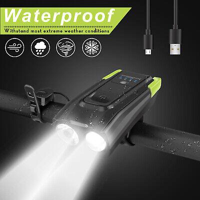 Front Led Bike Light - USB Rechargeable LED Bicycle Headlight Bike Head Light Front Lamp Cycling + Horn