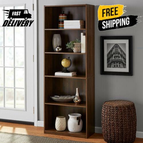 "71"" Tall 5-Shelf Bookcase Closed Back Adjustable Wood Bookshelf Storage Shelves"