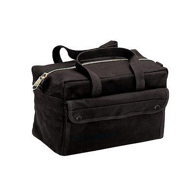 HEAVY DUTY BLACK MILITARY STYLE MECHANICS HARD BOTTOM TOOL BAG BRASS ZIPPER Black Mechanics Tool Bag