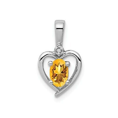 Sterling Silver Rhodiumed Diamond & Citrine November Birthstone Heart Pendant