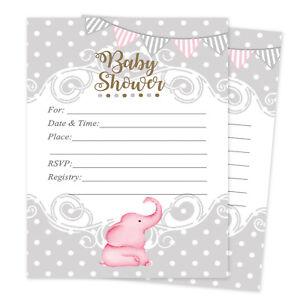 Elephant baby shower invitations ebay 20 girl elephant baby shower invitations elephant cards invites decorations pink filmwisefo
