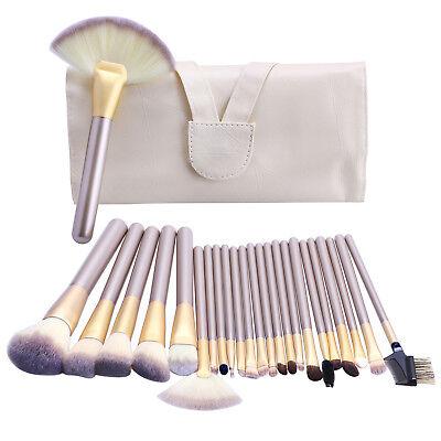 24pcs Pro Makeup Brushes Cosmetic Tool Kit Kabuki Make up Powder Brush Set +Case