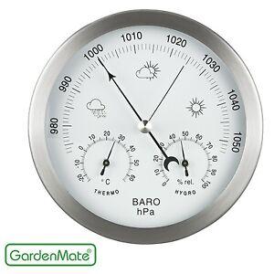 GardenMate® Wetterstation analog Thermo-, Hygro-, Barometer Rahmen aus Edelstahl