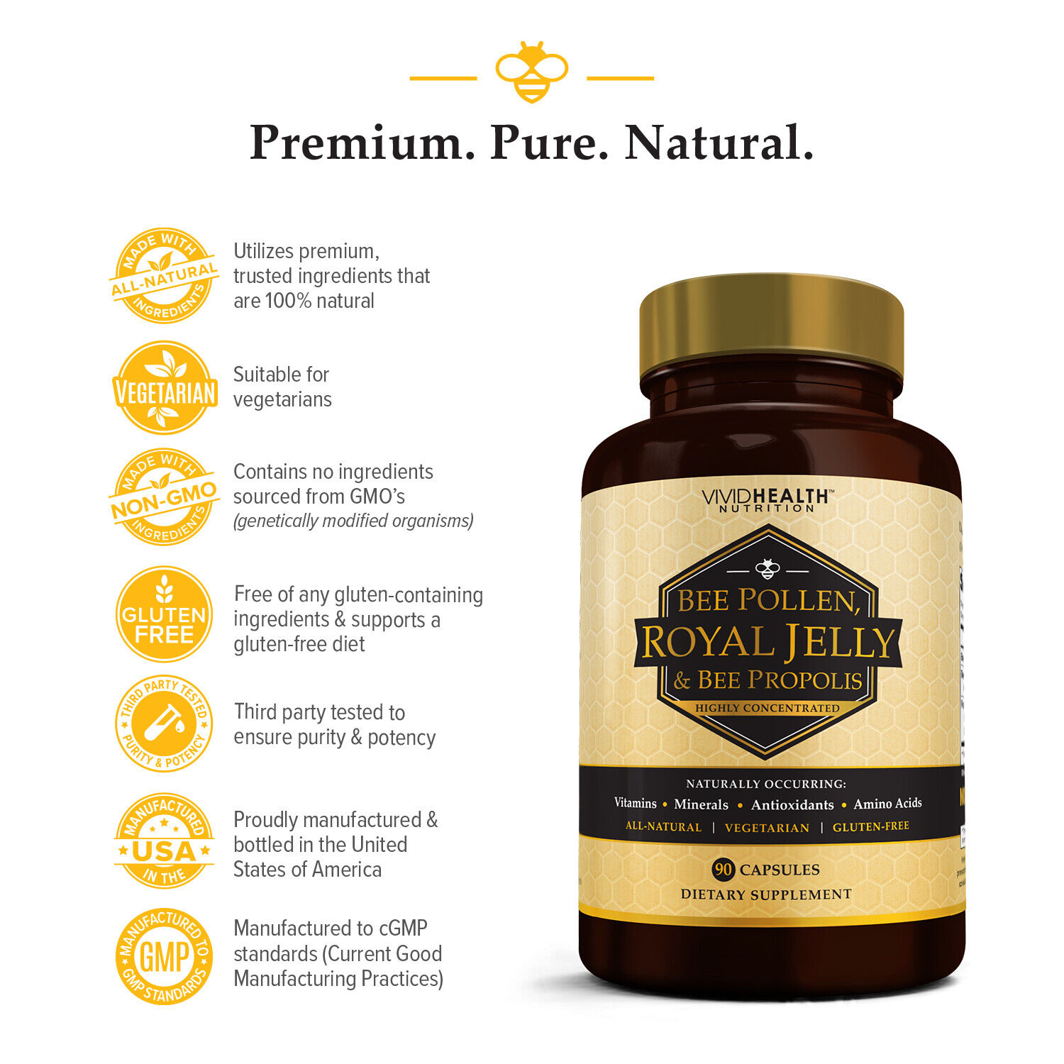 Immune Boosting, Pure ROYAL JELLY BEE POLLEN Supplement w/ BEE PROPOLIS by VHN 2