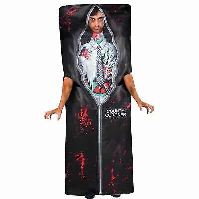 Mens Body Bag Costume Adult Halloween Dead Coroner Morgue Gory CSI Fancy Dress - Body Bag Costume Halloween