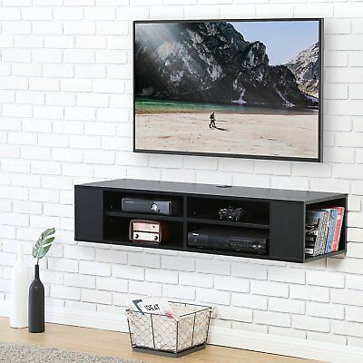 - Wood TV Stand Floating Wall Cabinet Hanging Media Console For LCD Xbox one LED