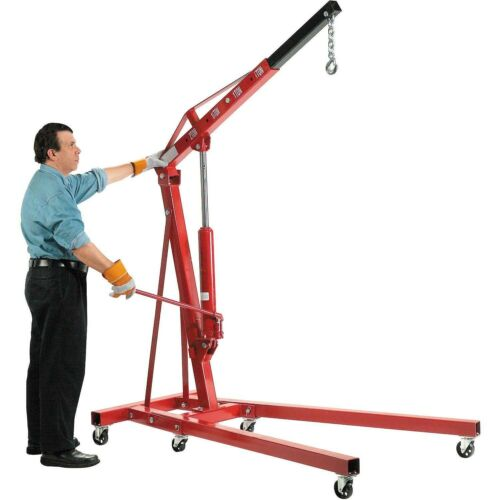 Floor Crane - 4000 lbs Capacity - 2 Ton - Straight Boom - Manual Hydraulic Pump