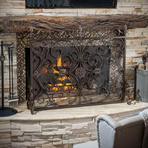 Black Gold Finish Fireplace Screen Panel Stand Wrought Iron