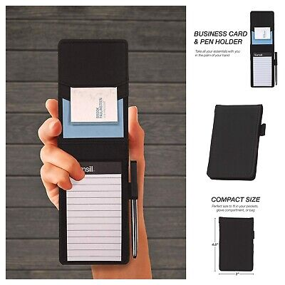 Mini Pocket Notepad Holder Memo Book Cover Black Business Card And Pan Holder