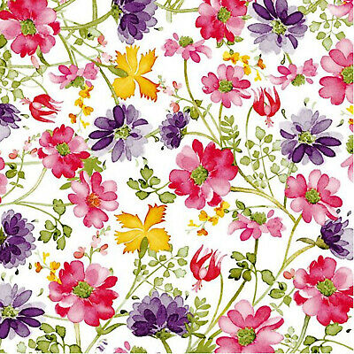 Floral Party Napkins (Floral Fantasy Disposable Lunch Paper Napkins 3-Ply 20)